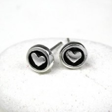 heart in circle silver studs