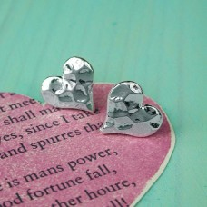 Silver Plated Hammered Heart Studs