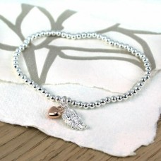 bracelet w rose heart and wing