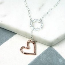 necklace silver circle and rose heart
