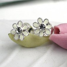 White Tiny Flower Enamel Stud