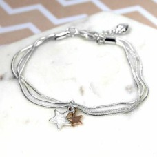 Triple Chain Bracelet with Rose Gold/Silver Stars