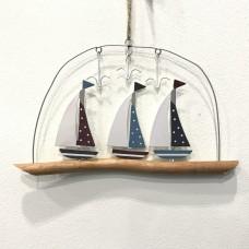 Yachts on Driftwood Hanging Decoration