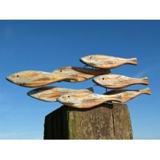 Wooden school of fish wall art
