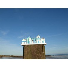 Marine coloured beach huts