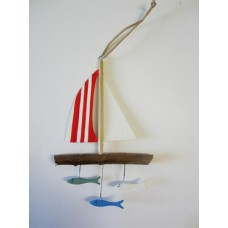 Hanging red sailboat / fish
