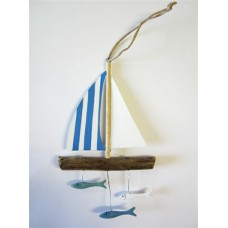 Blue sailboat with fish