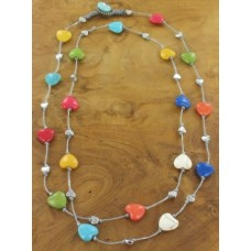 long stone heart necklace