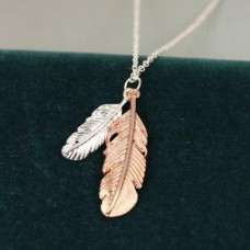 Silver plated feather necklace