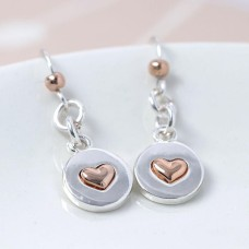 Gold Heart Silver Plated Disc Earrings