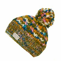 KuSan Teal/Orange Multi Yarn Bobble Hat