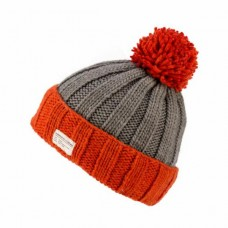 KuSan Orange & Grey Turn-up Bobble Hat