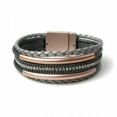 grey leather rose gold multi strand bracelet