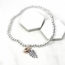 fern heart bead bracelet