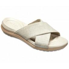 CROCS Womens Capri Shimmer Xband Sandal Oyster/Cobble
