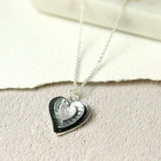 Grey Enamel Heart Necklace
