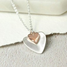 Silver Plated Folded Hearts Necklace