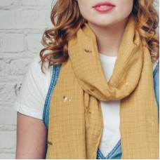 Gold dragonfly print scarf
