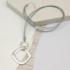 Worn Silver Square Hoop Grey Cord Necklace