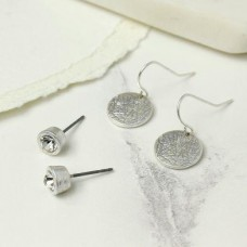 Worn Silver Stud And Disc Earring Set