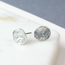 Silver Plated Textured Oval Stud Earrings