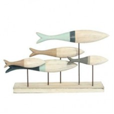 Striped wooden shoal of fish on plinth