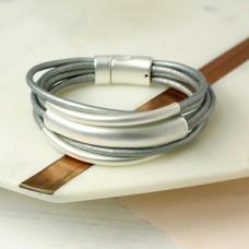 Grey Leather Tube Bracelet