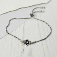 Silver Plated Crystal Star Adjustable Bracelet