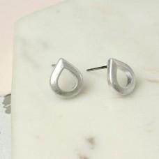 Teardrop Studs In Worn Silver