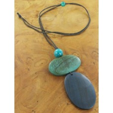 double oval long necklace blues