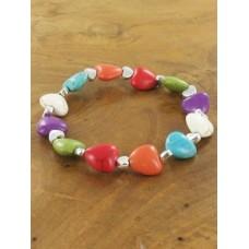Resin heart bracelet elasticated