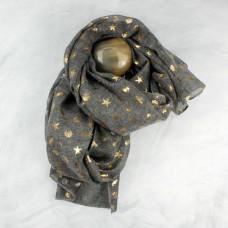grey gold seashore print scarf