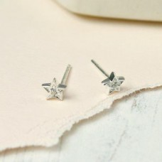 Tiny Star Studs with Crystal
