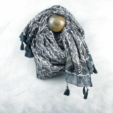 Navy Cotton Block Print Scarf With Tassels
