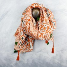 Terracotta Dark Green Big Print Scarf