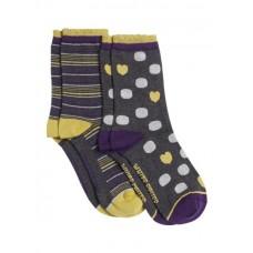 Eloise Sock 2 Pack Grey Multi