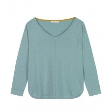 Riku V-Neck Jumper ALGAE GREEN PLAIN
