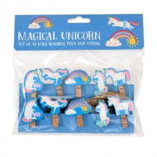 Magical unicorn wooden pegs on string