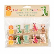 Colourful creatures pegs and string set