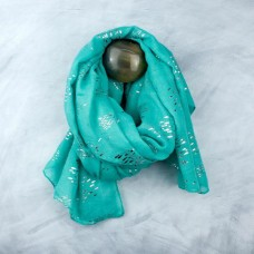 Green scarf with silver fish print