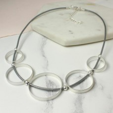 Grey leather necklace with silver circles