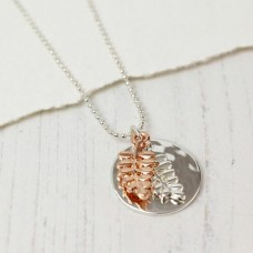 Silver plated ferns necklace