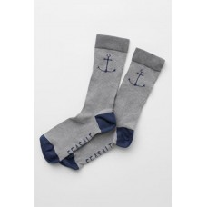 SEASALT CORNWALL Mens Sailor Socks Ahoy Stormcloud One Size