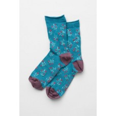 SEASALT CORNWALL Womens Bamboo Arty Socks Scandi Berry Deep Sea One Size