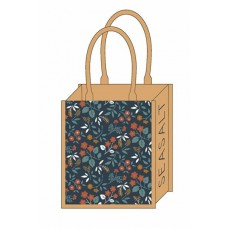 Jute Shopper Book Cover Floral Umber One Size