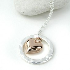 Circle with heart necklace