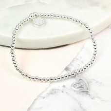 Light Grey Inset Heart Bracelet