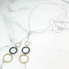 long adjustable mixed finish hoops necklace