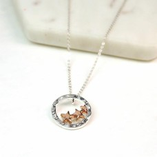 trio rose gold stars necklace