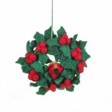 FELT SO GOOD Felt Holly Wreath w Robin